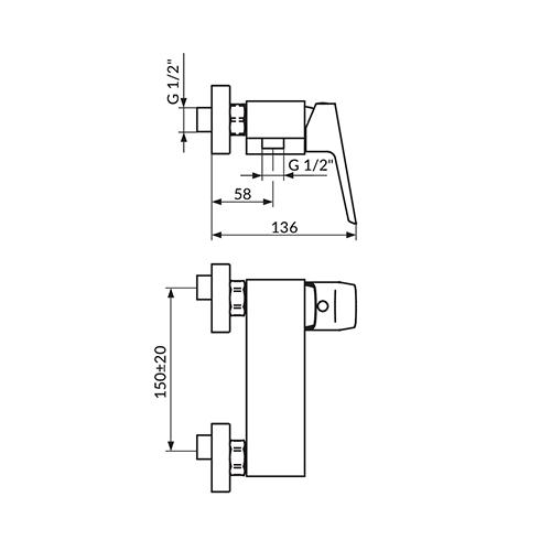 Baterija za tuš kadu sa ručnim tušem 137101