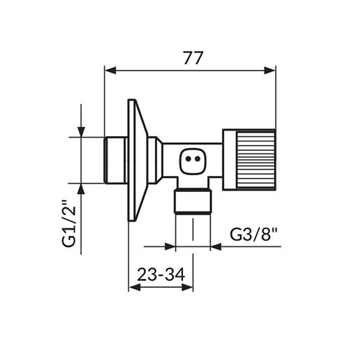 Ek-ventil ugaoni 1/2-3/8 kugla A621238